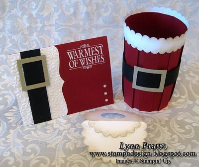 Stamp-n-Design: Santa Wine Bottle Basket & Card - So cute! I suddenly know what I'll be giving for Christmas gifts this year!