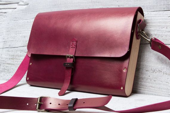 Burgundy leather and wood briefcase messenger bag. Custom made from beech wood and vegetable tanned burgundy red color full grain leather.