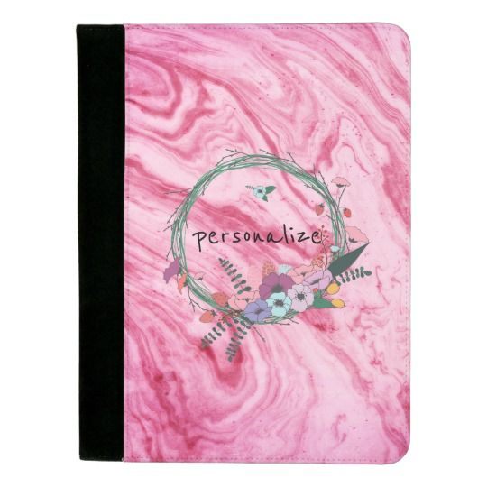 """Pink marble beautiful texture pattern personalize Padfolio available on zazzle.com, for ($24.95). Look professional and stylish with a custom padfolio. Featuring a pen holder slot, pocket for notes, business card slots, and a pad of perforated paper. -Dimensions: 12.5""""l x 9.5""""w x 0.75""""h -Polyester construction is durable and allows for full color designs-Lined inner pockets help capture loose papers and includes 2 business card slots-Lined perforated notepad included-Includes pen holder…"""