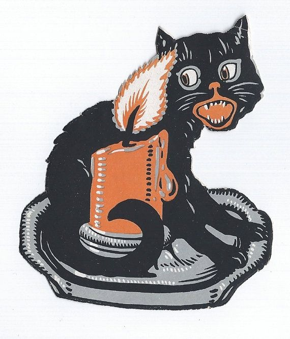 Antique Halloween Black Cat Howling With Candle Unused Seal 1920s Collectible Old Halloween Dec Black Cat Halloween Halloween Graphics Vintage Halloween Images