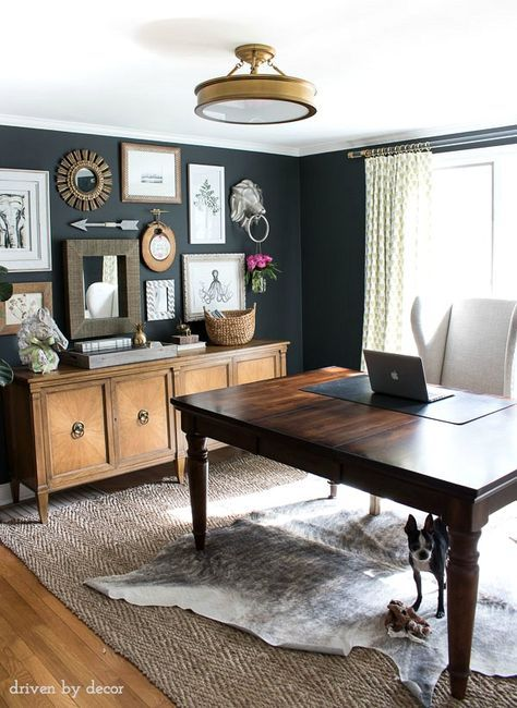 Home Office With Charcoal Gray Walls And Eclectic Gallery Wall Above A  Credenza Part 89