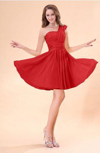 Red Cute A Line Sleeveless Mini Ruching Wedding Guest Dresses