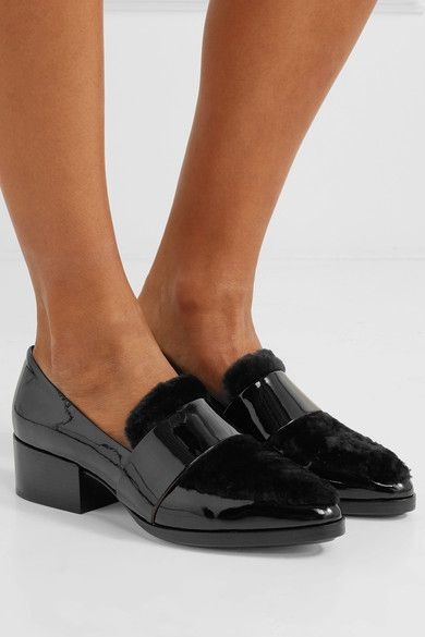 b3a4501f05d0 3.1 Phillip Lim - Quinn Shearling-paneled Patent-leather Loafers - Black