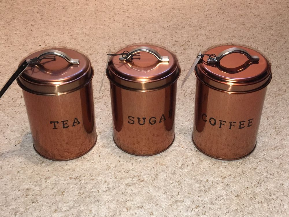 Set Of 3 Copper Tea Sugar Coffee Kitchen Tin Canisters Next