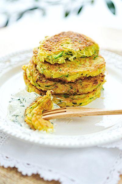 Zucchini Fritters with Basil Crema