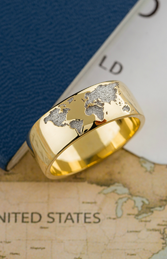 Unique 14k Gold Ring With World Map Custom Made Ring Etsy Rings For Men Gold Rings Women Rings