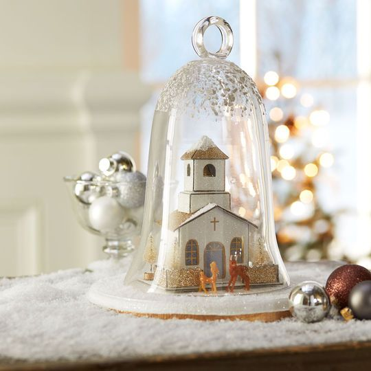 Silver and Gold Miniature Christmas Cloche crafts Pinterest