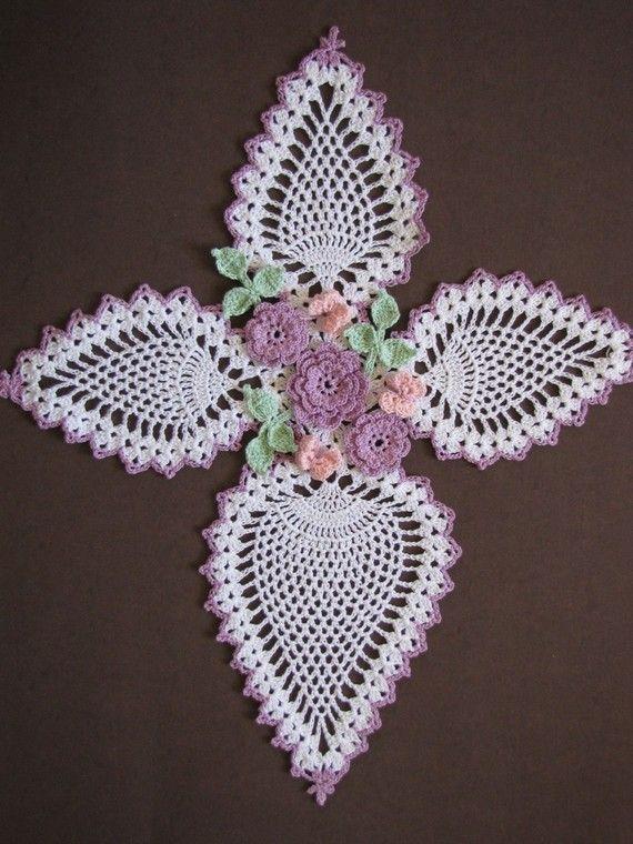 PDF Crochet Pattern- Butterflies and Roses Pineapple Doilies Pattern ...