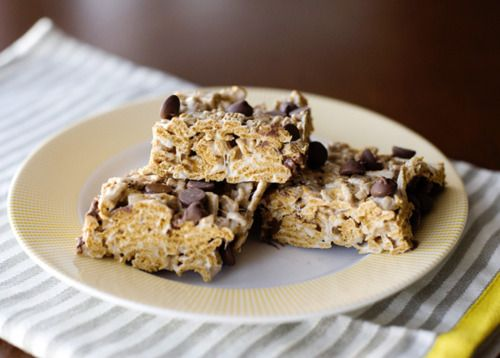 Golden graham s'mores bars \ One thing i did different is I added the choc at the same time as the golden grahams.