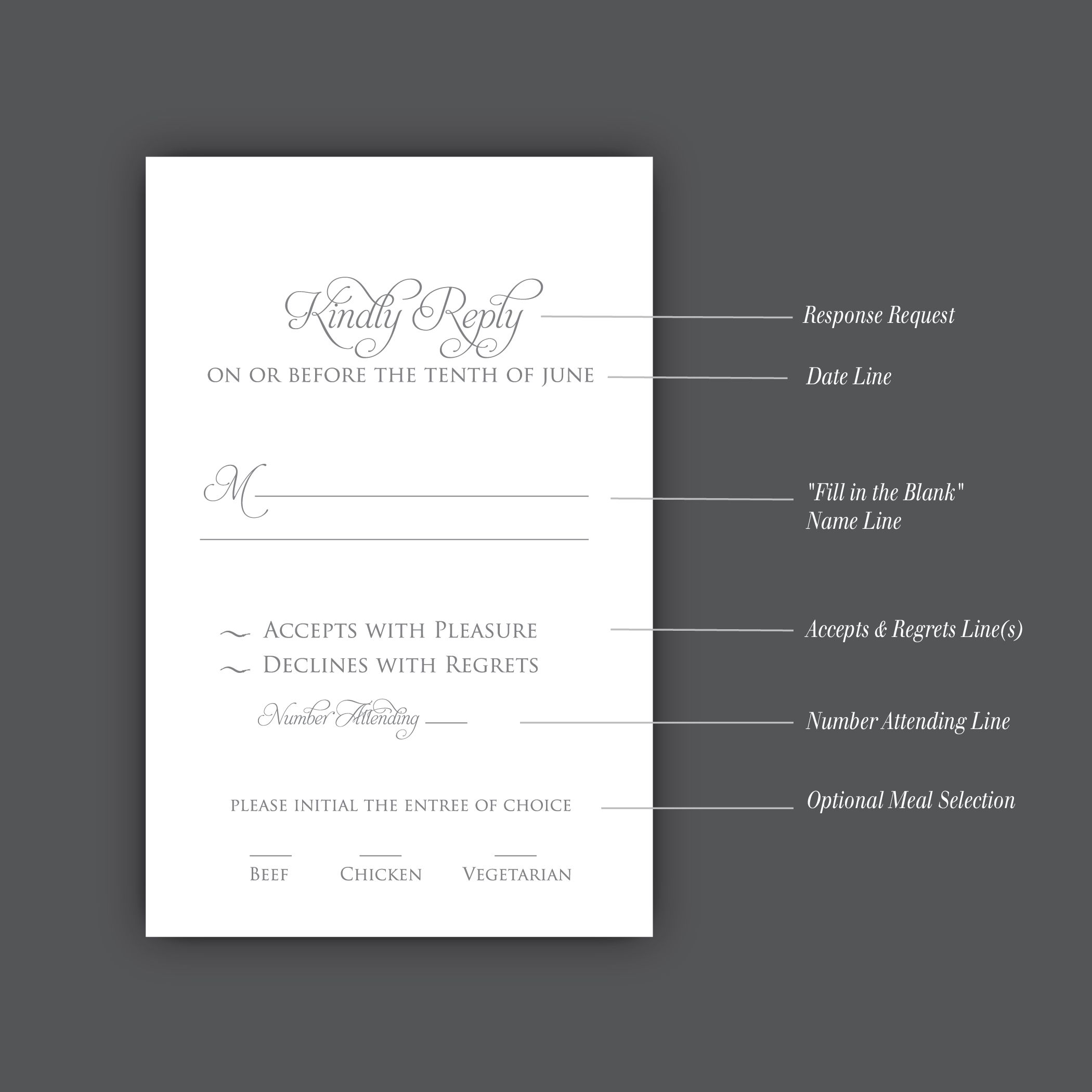 How to correctly word your wedding rsvp card wedding pinterest your invite wording is checked off your list and now you are wondering how formal funky or traditional you want to phrase your wedding rsvp card stopboris Choice Image