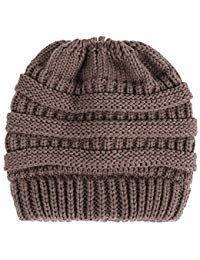 ed092bc1f AIEOE - Sombrero de Punto Invierno para Mujer Gorro Beanie Coleta Cálido  Elástico Casual al Aire