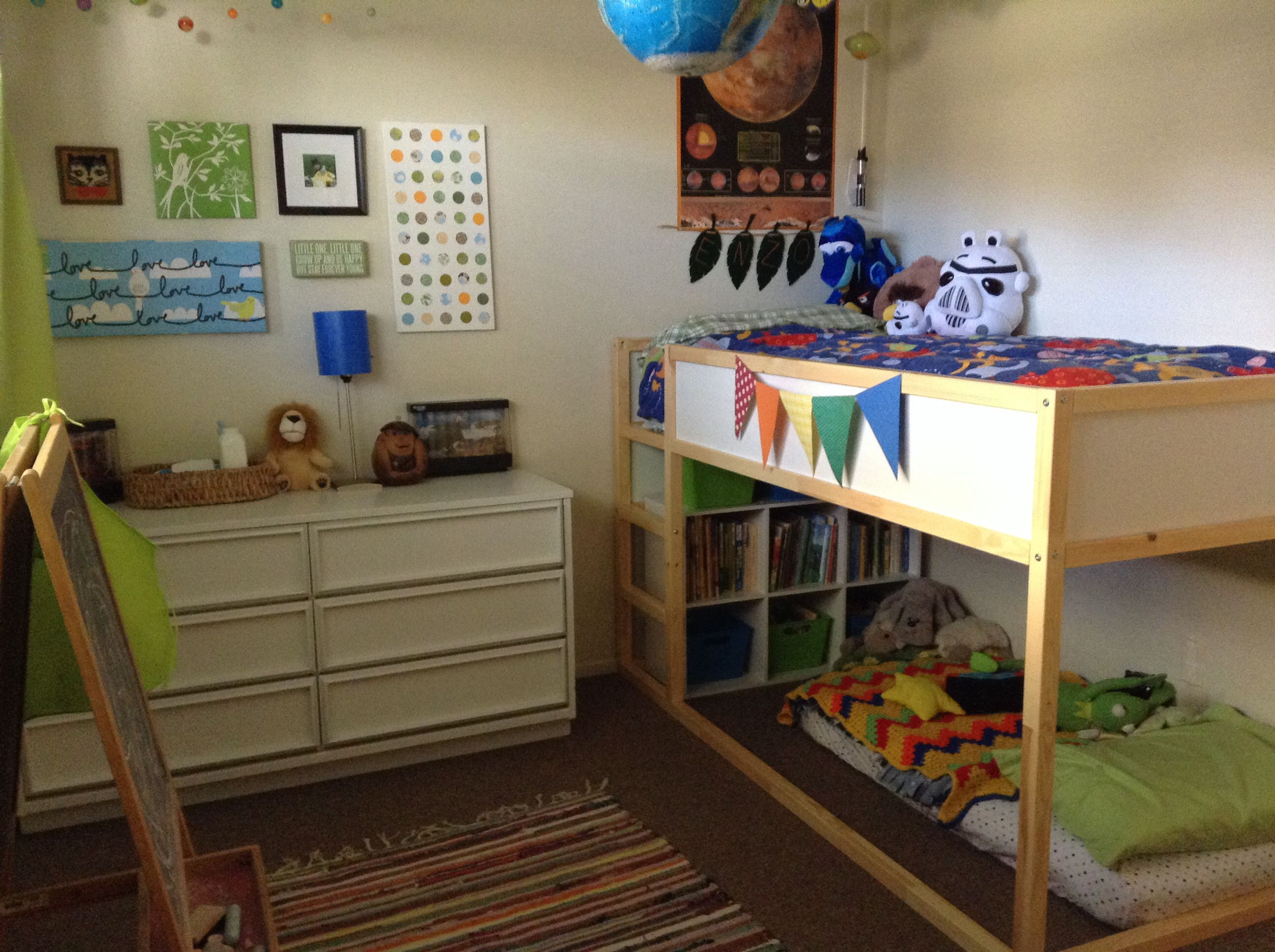I like the crib matrs underneath as most likely well have for Kids bed with play area
