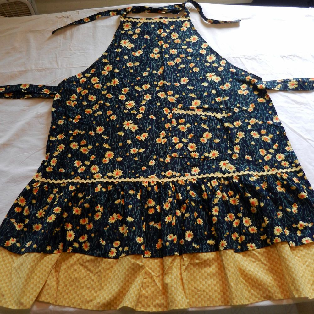 Apron Womens Handmade Full Apron One Size Fits All Kitchen Cooking Floral