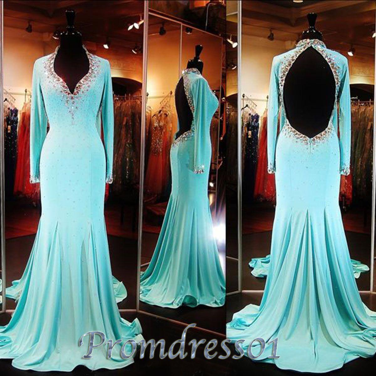 qpromdress: Elegant ¾ sleeves open back prom dress | *~ Fairytales ...