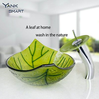Bathroom Tempered Glass Green Leaves Vessel Sink Wash