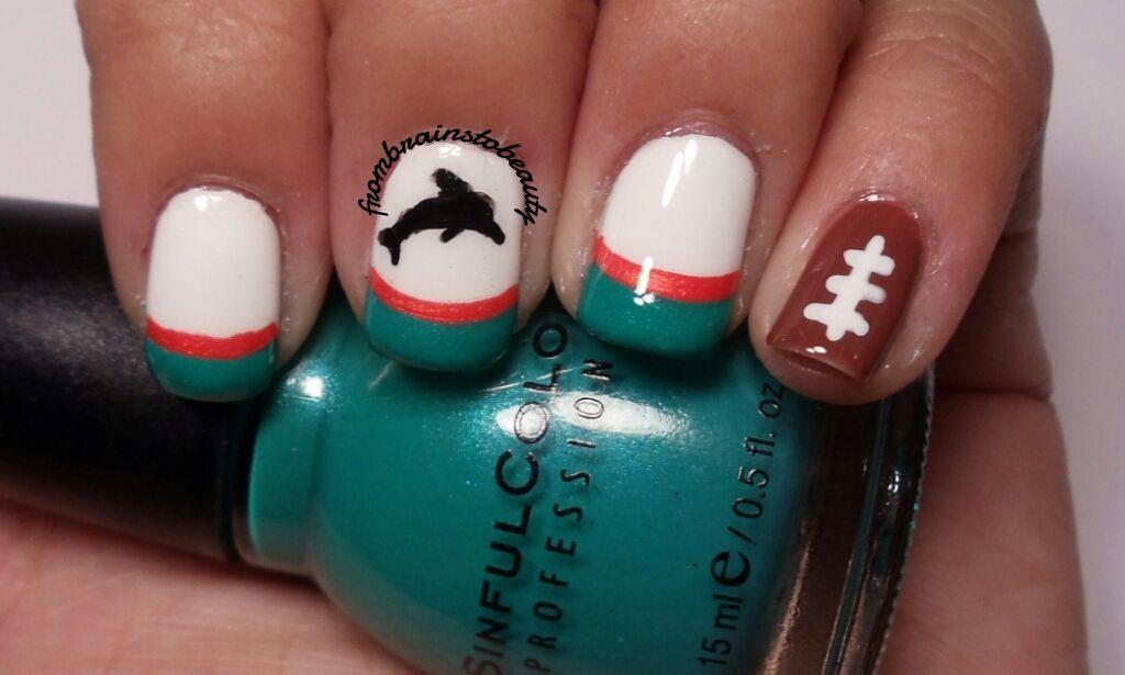 Miami Dolphins Nail Art Nail Tutorial Miami Dolphins Vs