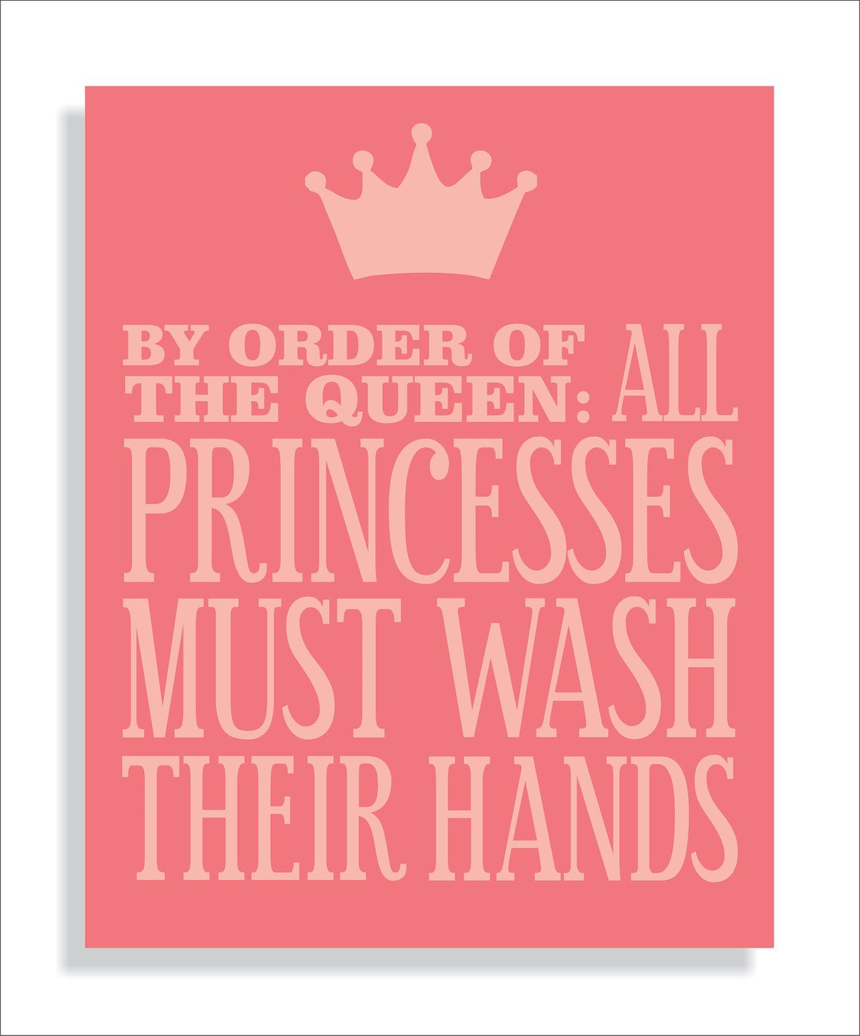Princess Bathroom Art Print, Girls bathroom wall decor- Wash Your ...