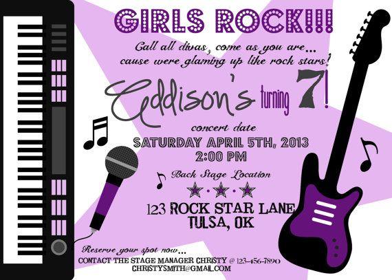 PRINTABLE Girl Rock Star Birthday Party Invite by luvbugdesign – Rockstar Party Invites