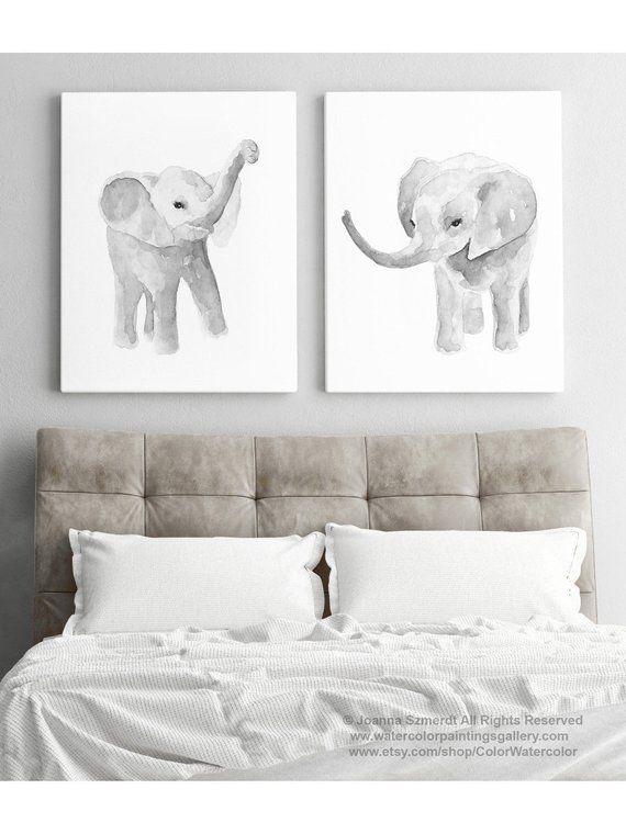 Minimalist Elephant Drawing: Elephant Art Print Set 2 Elephants Grey Drawing, Nursery