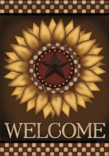 Country Primitive Sunflower Barn Star Welcome Double Sided Garden Flag 13 X  18 By Flag Trends