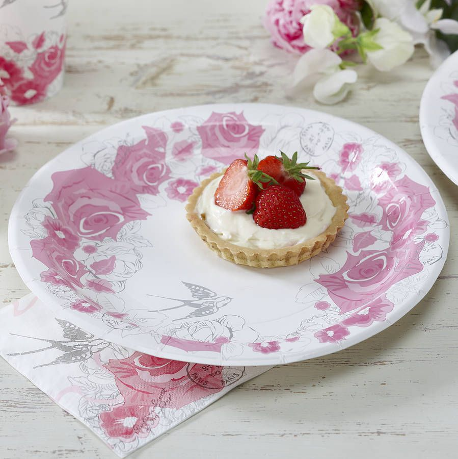 Vintage Style Floral Rose Party Paper Plates | Anniversary party ...