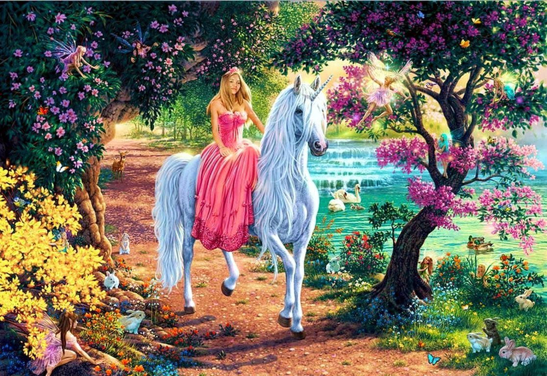 Princess with unicorn horse fairy tale story images for