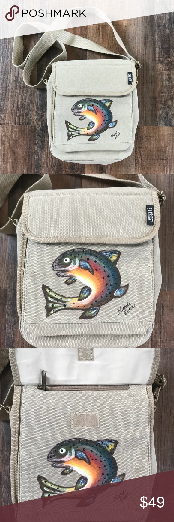 c7e790892877 Men s Messenger Bag with Painted Rainbow Trout Everest canvas messenger bag.  Large enough for an IPad or Tablet. Sturdy heavyweight cotton canvas.