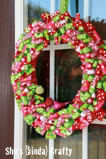 Polka Dot Christmas Ribbon Wreath
