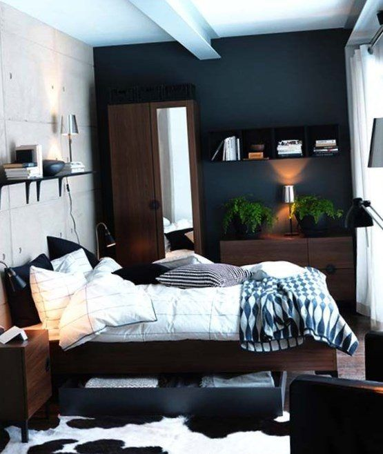 black color wall small bedroom with exposed concrete wall equipped dresser and plants decor ideas for small bedrooms make it look bigger with bedroom - Bedroom Design Ideas Male