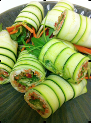 zucchini, carrot and cashew salad rolls.