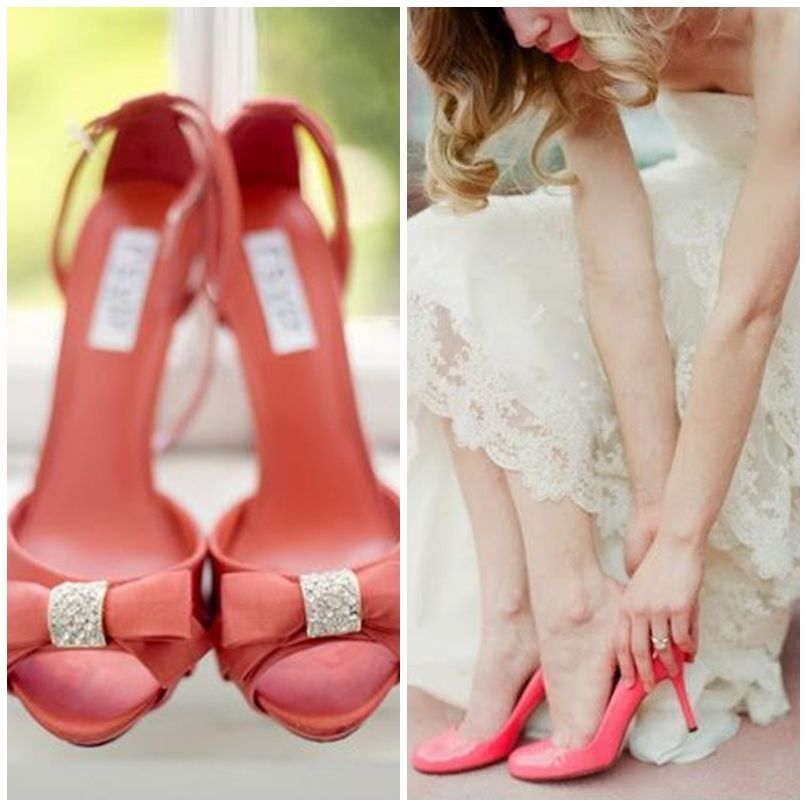 zapatos de novia de color coral, ¿te atreves? | zapatos