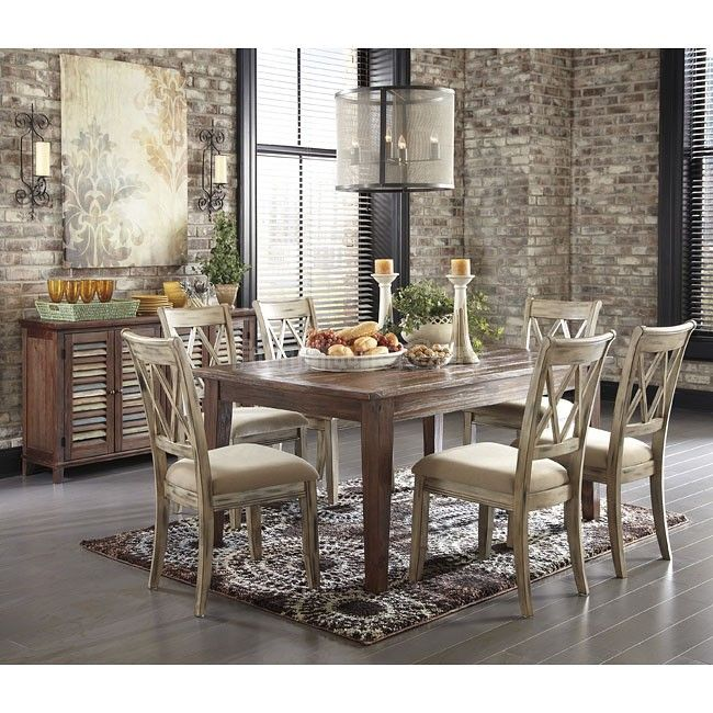 Mestler Aged Bisque Brown Pine Dining Set  Ashley Furniture Sale Magnificent Dining Room Suit Decorating Inspiration