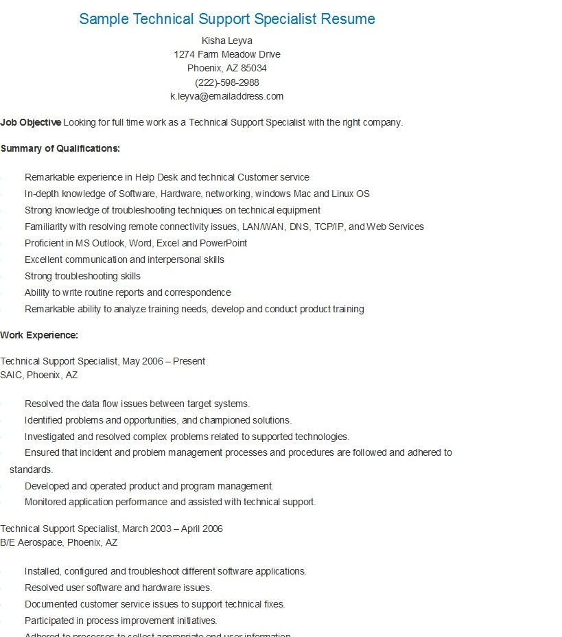 Sample Technical Support Specialist Resume Job Resume Samples It Support Specialist Resume