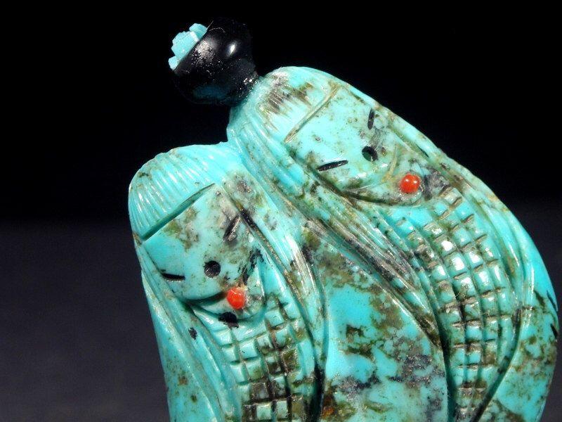 Zuni Pueblo double CORN MAIDEN Fetish by Kateri Sanchez, Turquoise,w/ Olla pottery Indian Native American New Mexico Rock Sculpture figurine