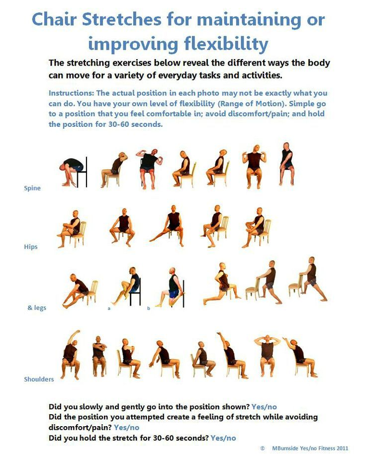 Chair Stretch Exercises Poster Www Yesnofitness Com