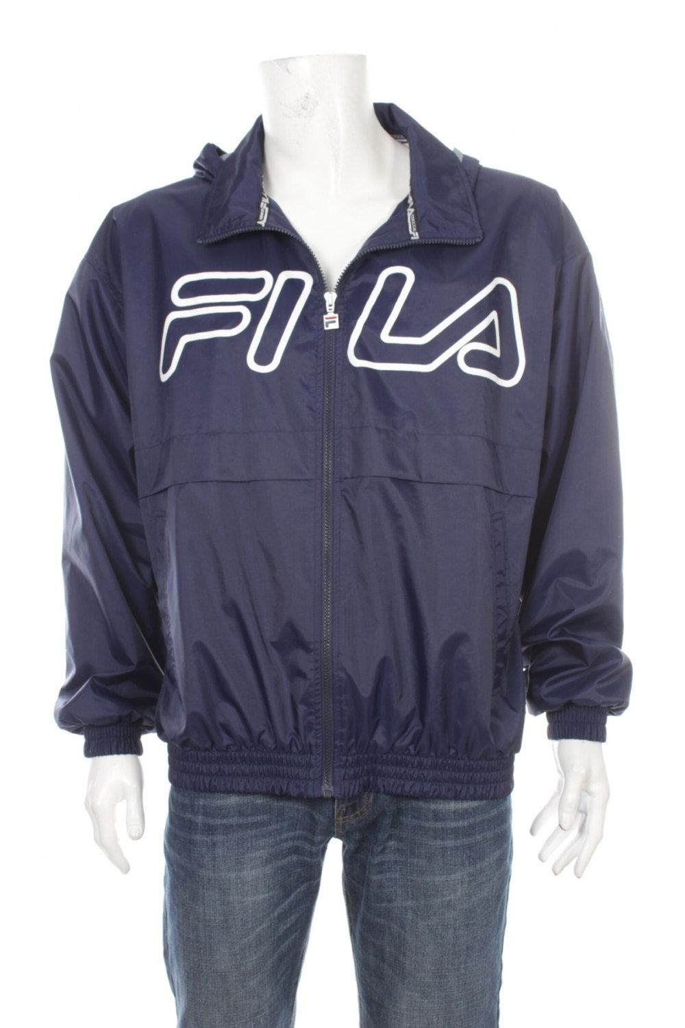 8661aede990 Vintage 90s FILA Nylon Windbreaker Jacket / Big Logo Spell Out/ with Hidden  Hood / Hip Hop Rap Style / Size L by VapeoVintage on Etsy