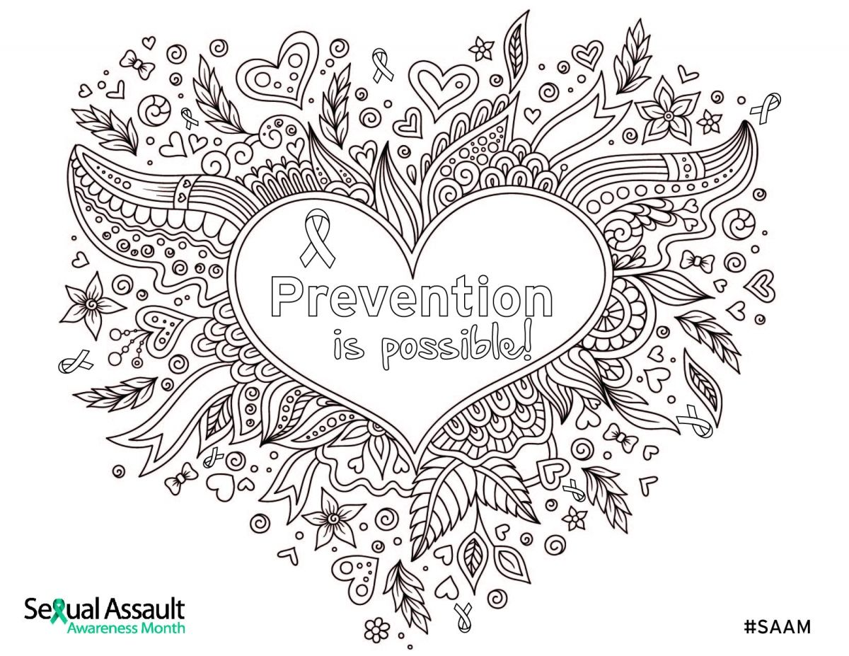 April Is National Sexual Assault Awareness Month And This A Beautifully Detailed Coloring Sheet
