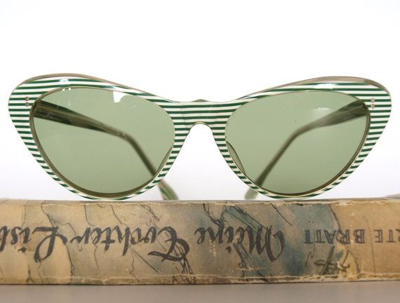 Items similar to ON HOLD Cool 1950s Cat Eye Vintage Sunglasses from Germany - Green White Stripes on Etsy