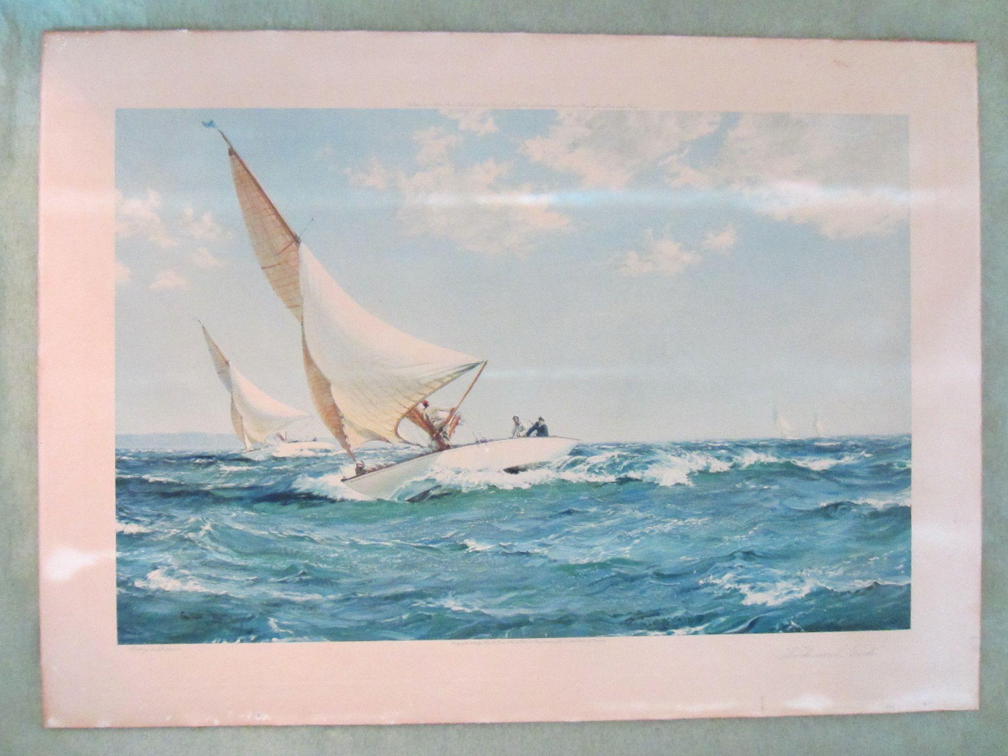 Montague Dawson Seascape English Lithograph Circa 1935 Original Frame