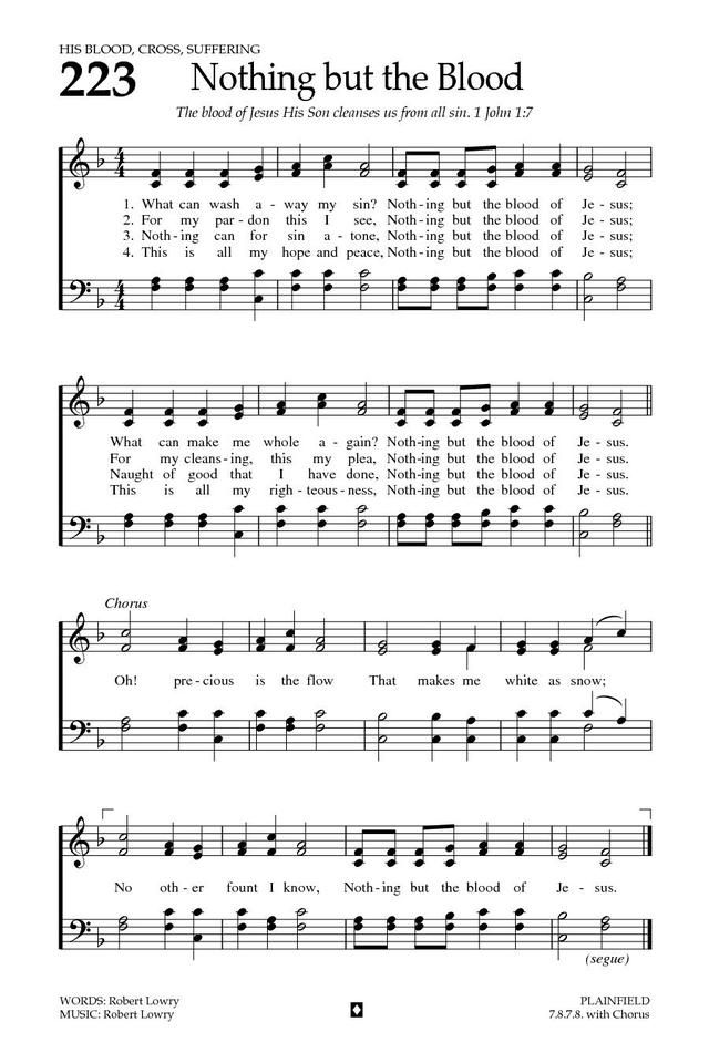 Nothing But the Blood  Baptist Hymnal 2008 page 317   Sheet Music