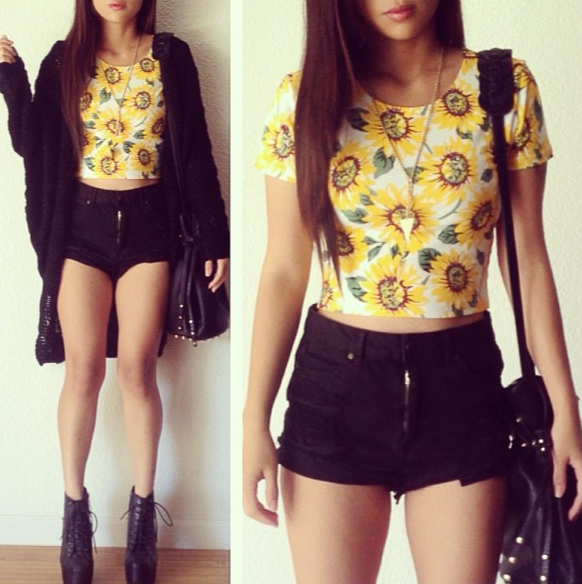 sunflower print crop top with highwasted short