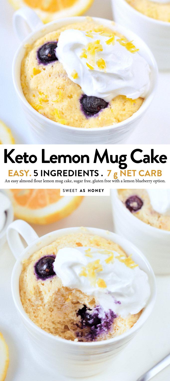 Keto lemon mug cake gluten free + dairy free - Sweetashoney