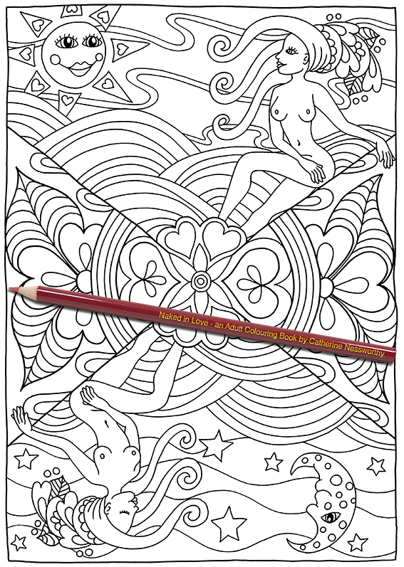 night and day are celebrated in this nude adult colouring page design from naked in love an adult colouring book by catherine nessworthy - Nude Coloring Book