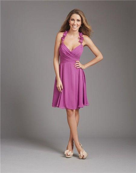 1c73f07f48 A Line Halter V Neck Short Purple Chiffon Ruched Wedding Guest Bridesmaid  Dress