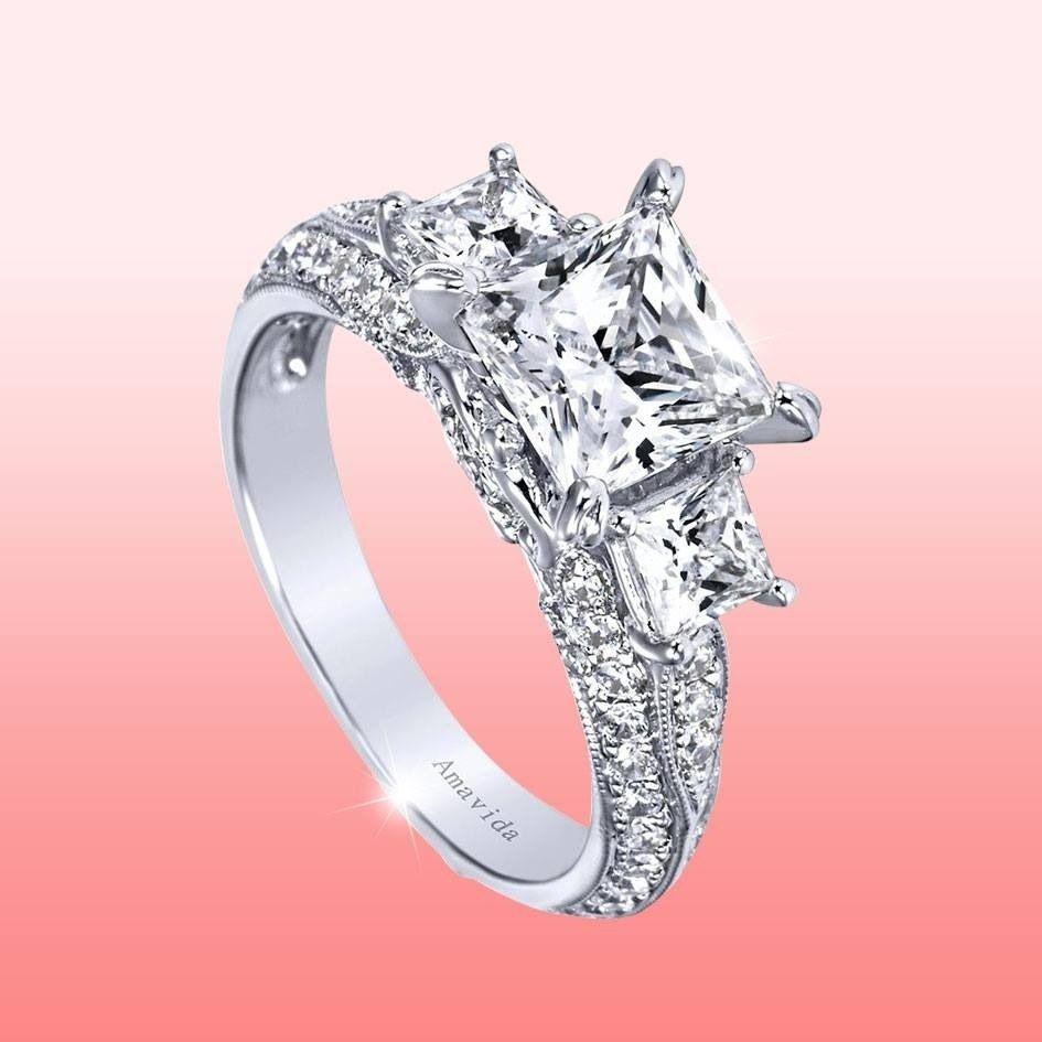 A three stone Princess cut engagement ring?....Yes Please!! Amavida ...