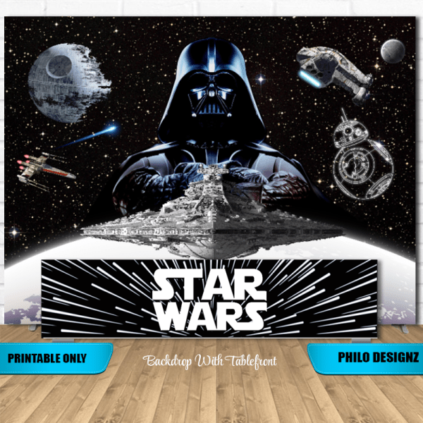 Star Wars Backdrop And Tablefront Star Wars Party Decorations Star Wars Theme Party Star Wars Party