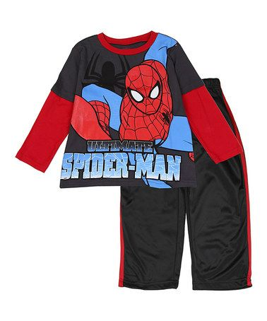 This 'Ultimate Spider-Man' Long-Sleeve Tee & Pants - Toddler is perfect! #zulilyfinds