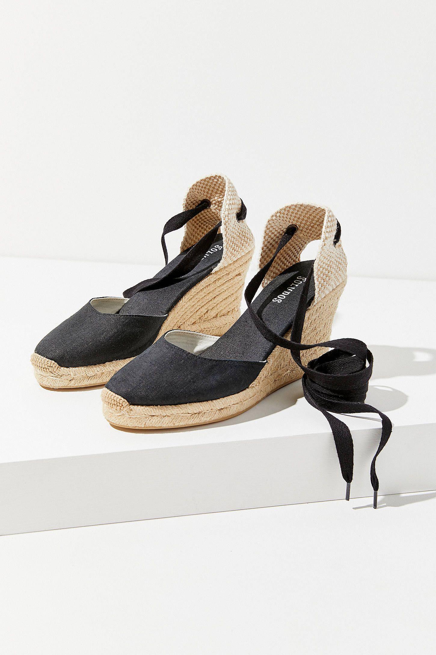b1d81f9c0a16 Soludos Black Linen Espadrille Tall Wedge Sandal