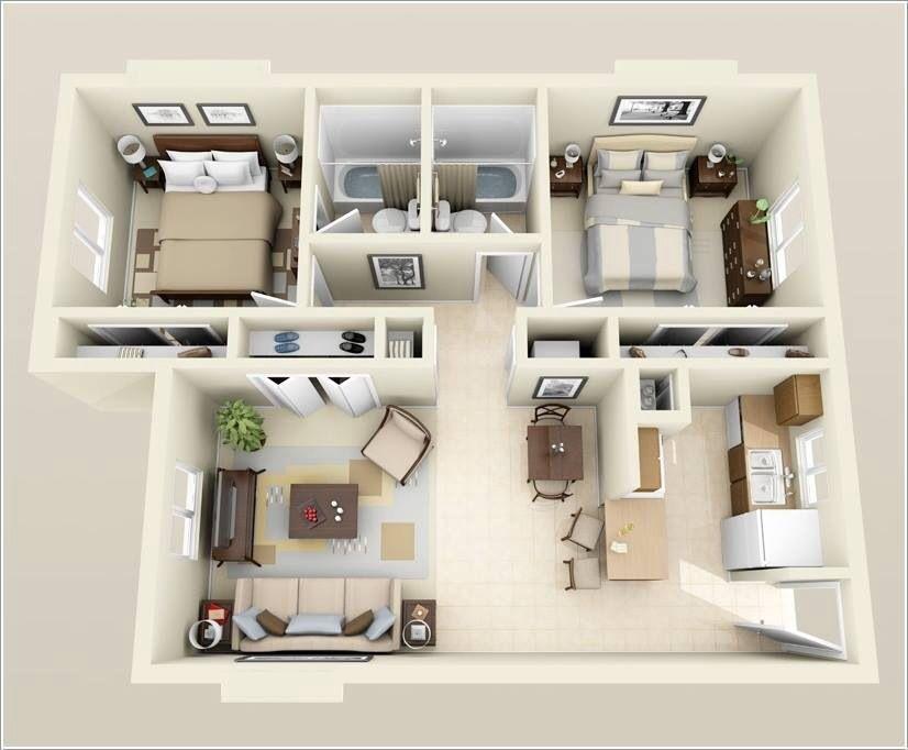 Idea for apartment | Apartment floor plans, 2 bedroom ...
