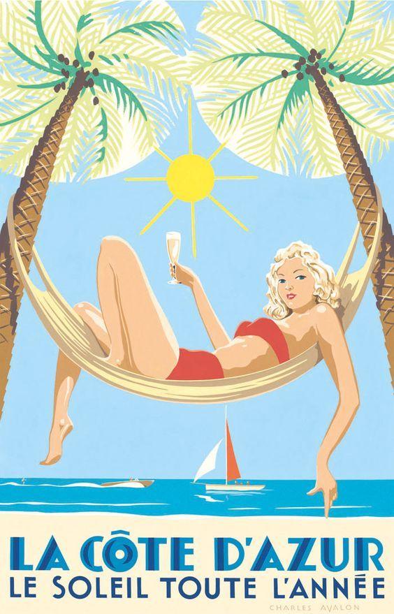 La Cote D'Azur ~ Charles Avalon | Poster | Ретро, Ретро ...